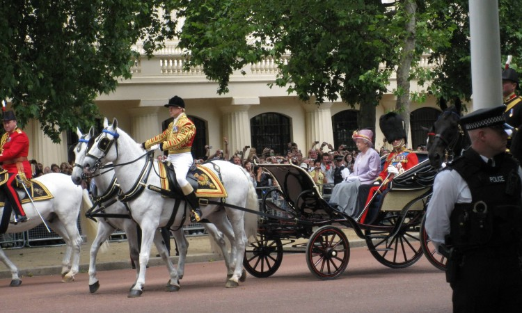 Queen Elizabeth II and the Duke of Edinburgh Trooping the Colour driver tour